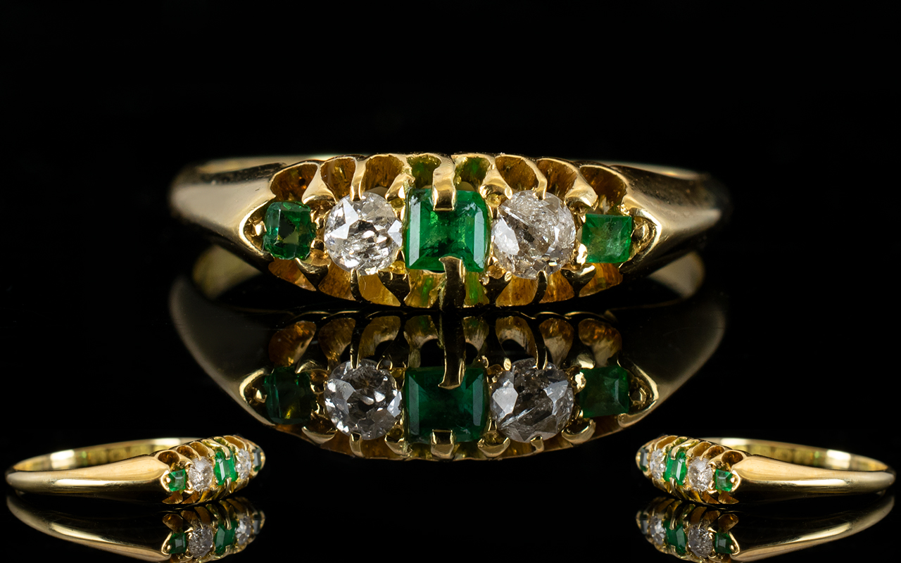 Lot 6 - Antique Period Nice Quality 18ct Gold Five Stone Emerald And Diamond Ring Both emeralds and diamond