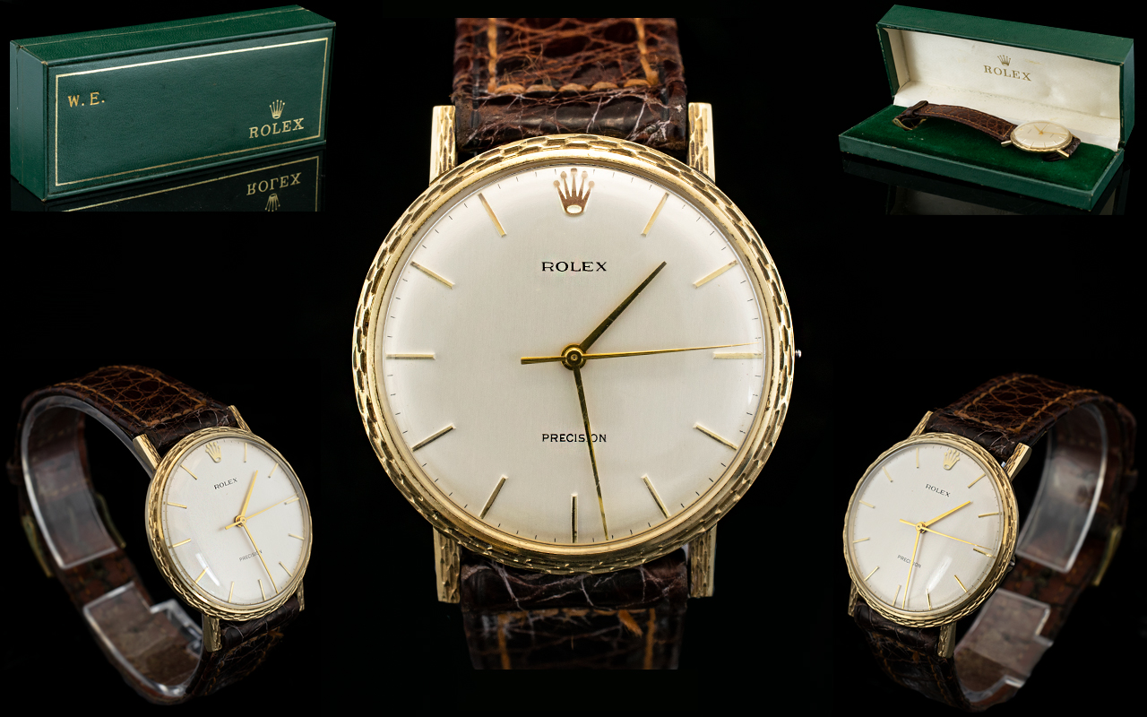 Lot 33 - A 9ct Gold 1971 Rolex Precision Watch A rare model complete with original chestnut brown leather