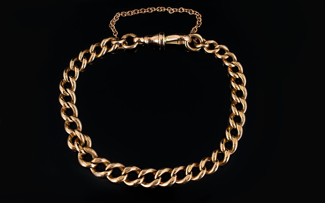 Lot 23 - Antique Period 9ct Rose Gold Curb Bracelet with Solid Clasp In Safety Chain.