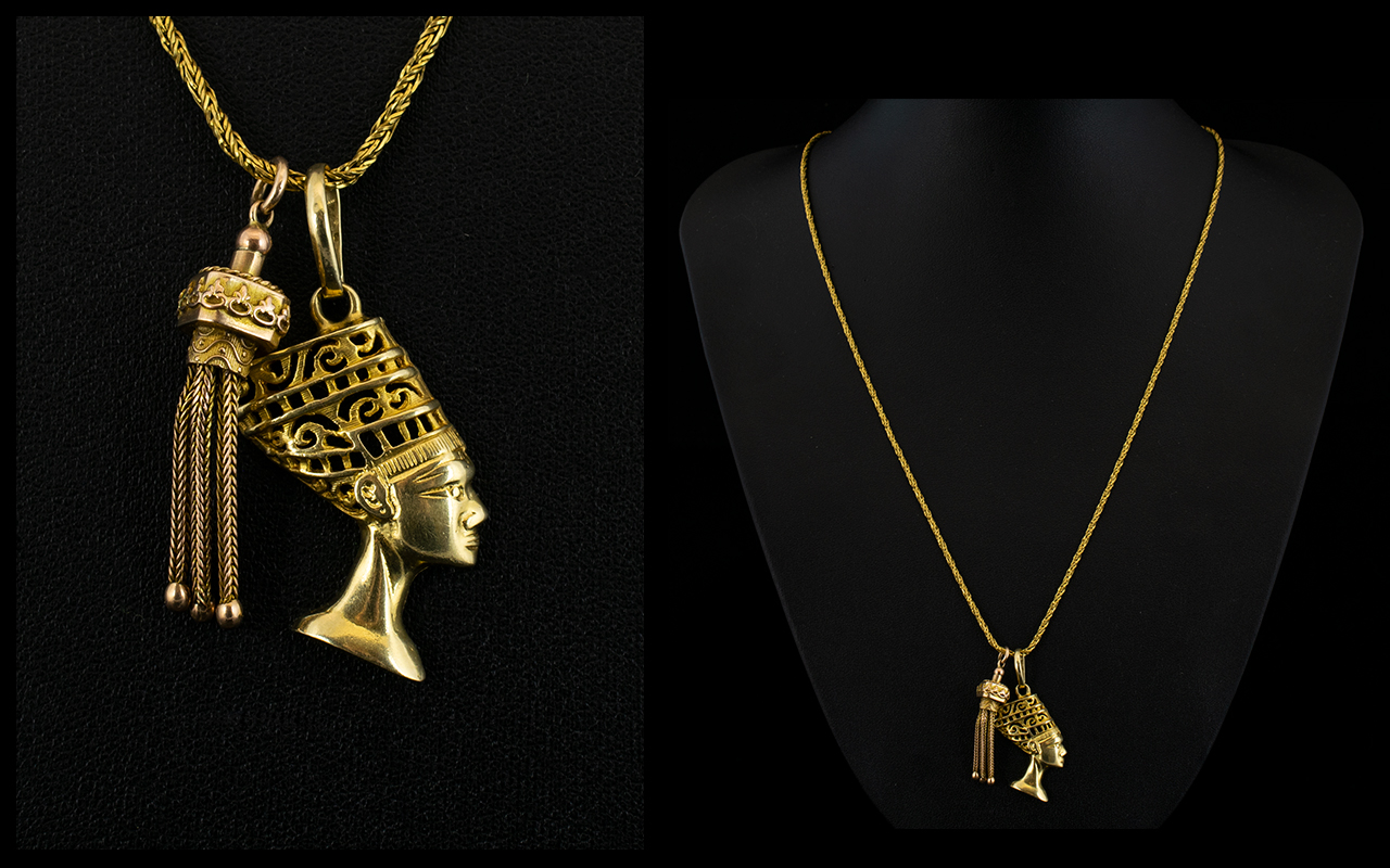 Lot 38 - 18ct Yellow Gold - Nice Quality Fancy Chain with Attached 18ct Gold Queen Nefertiti of Egypt