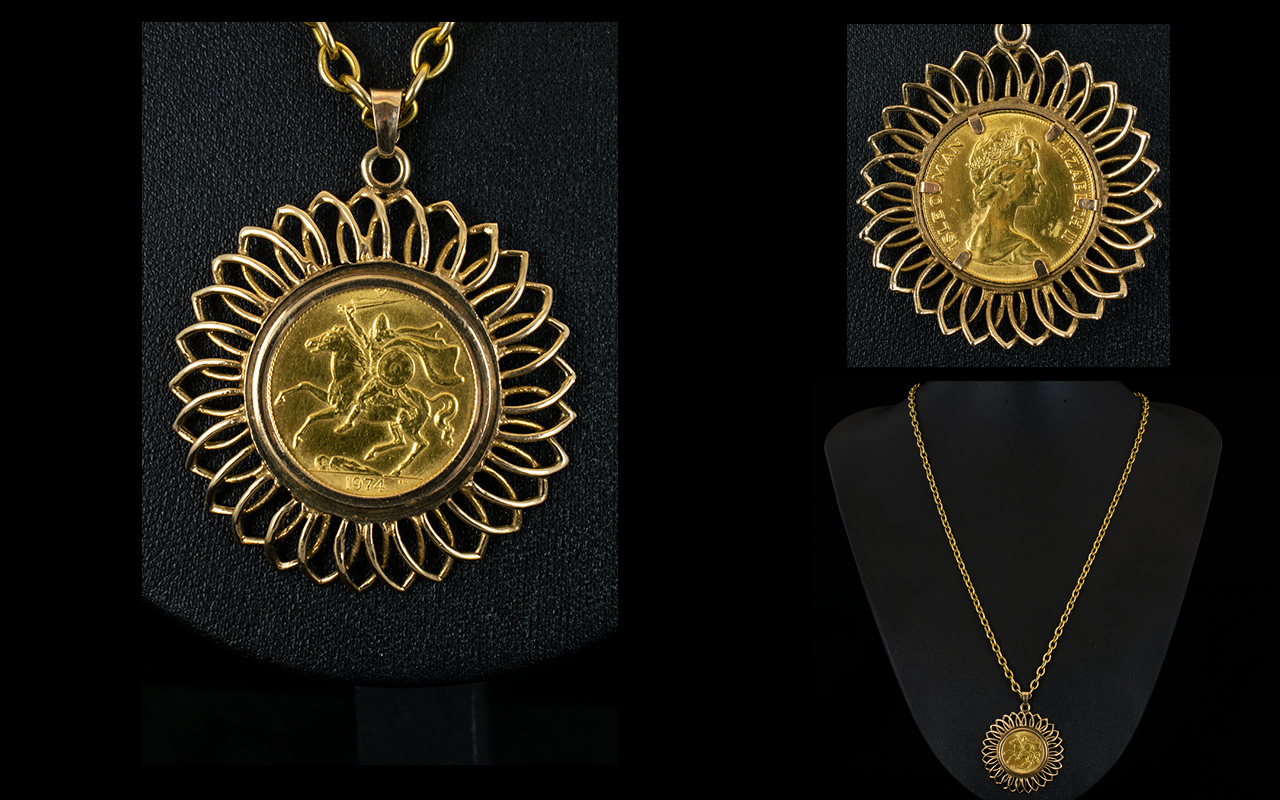Lot 22 - Elizabeth II - Isle of Man 22ct Full Sovereign - Mounted In a 9ct Gold Starburst Design Mount,