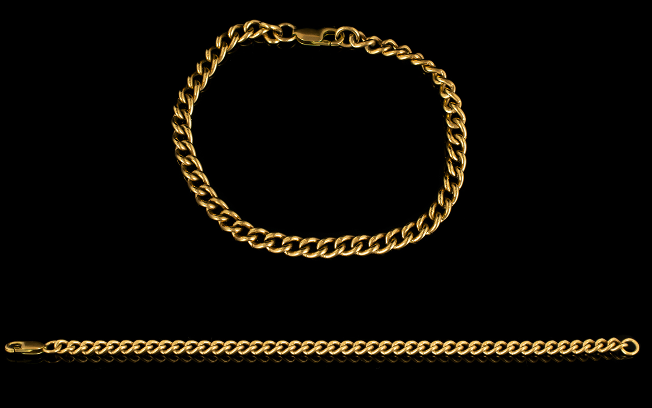 Lot 52 - Gents of Ladies 9ct Gold Curb Bracelet with Solid Clasp.