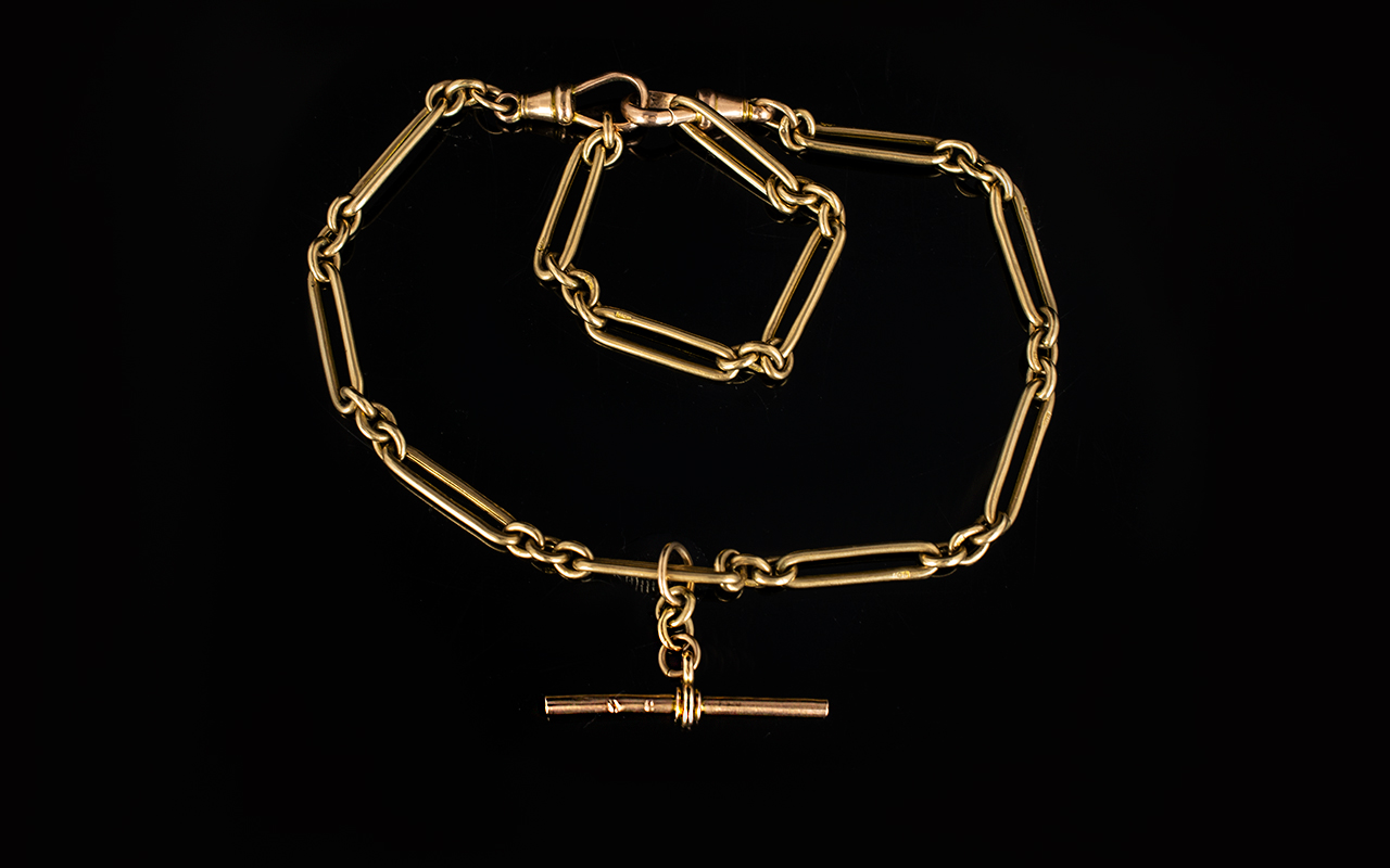 Lot 46 - Gents or Ladies Antique Period - 9ct Gold Double Clasp Watch Chain Bracelet / T-Bar with Extra