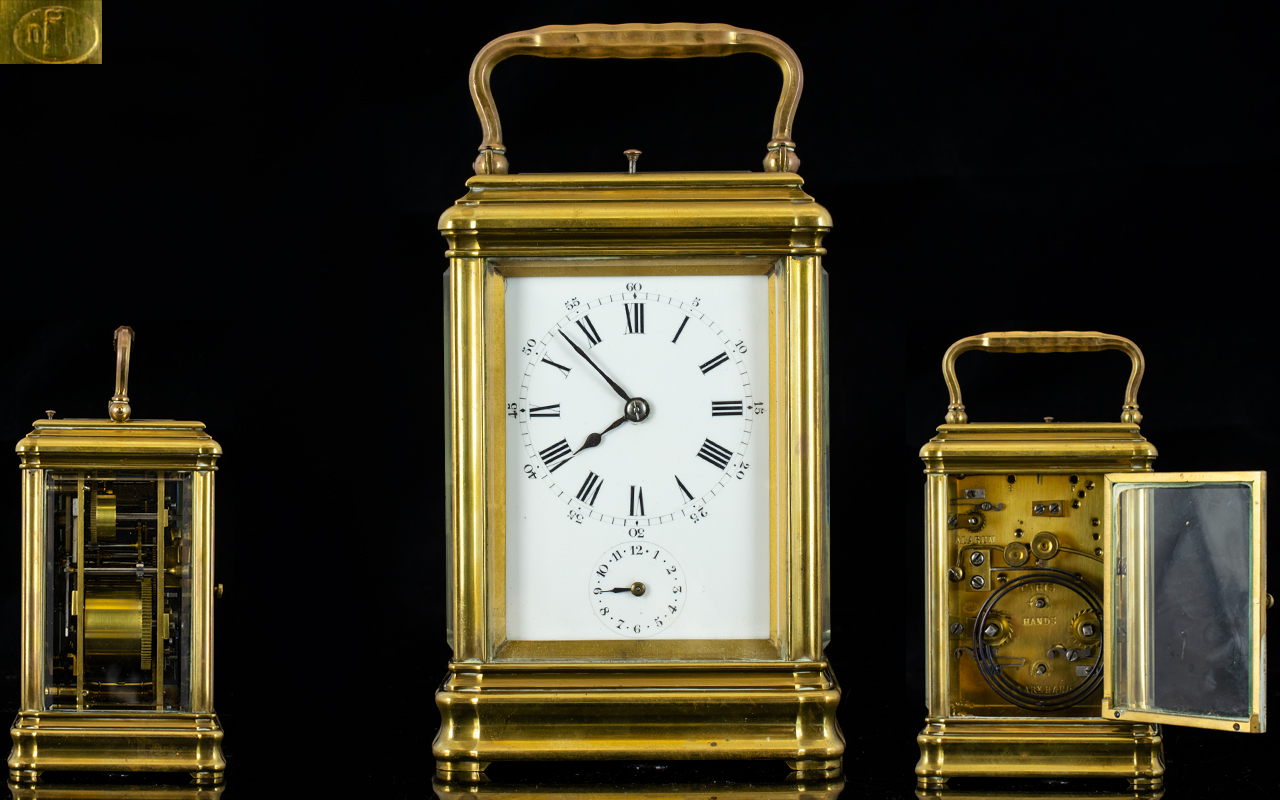 Lot 54 - French Mid 19th Century Pierre Drocourt Strike / Repeating Brass Carriage Clock. c.