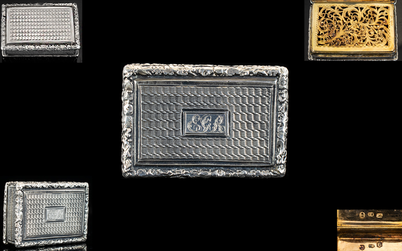 Lot 26 - George IV Superb Quality Hinged Silver Vinaigrette with gilt interior and ornate pierced grille.