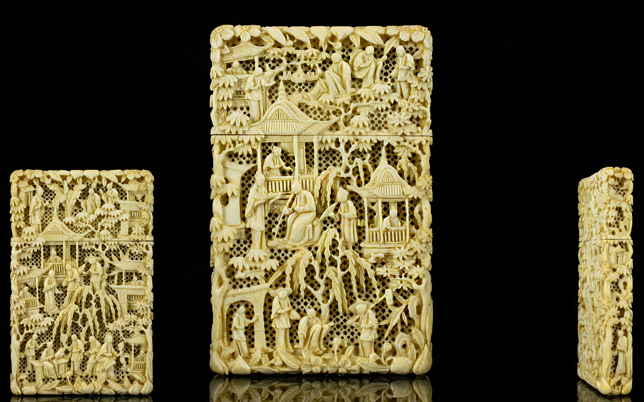 Lot 47 - Chinese - Canton Superb Quality Carved Ivory ( Deep Carvings ) Card Case. c.