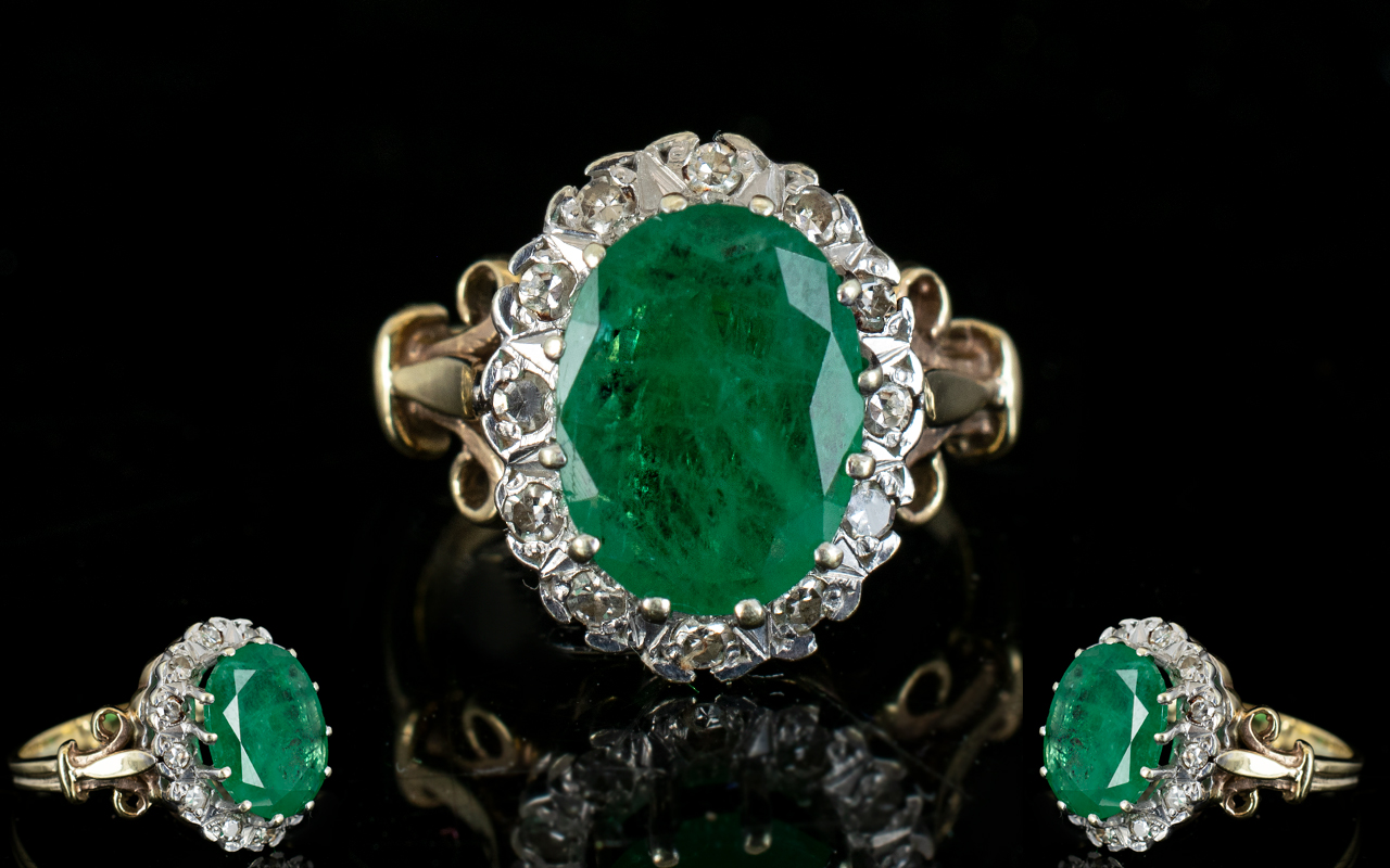 Lot 19 - Ladies 9ct Gold Emerald and Diamond Cluster Ring, The Large Central Emerald of Good Colour.