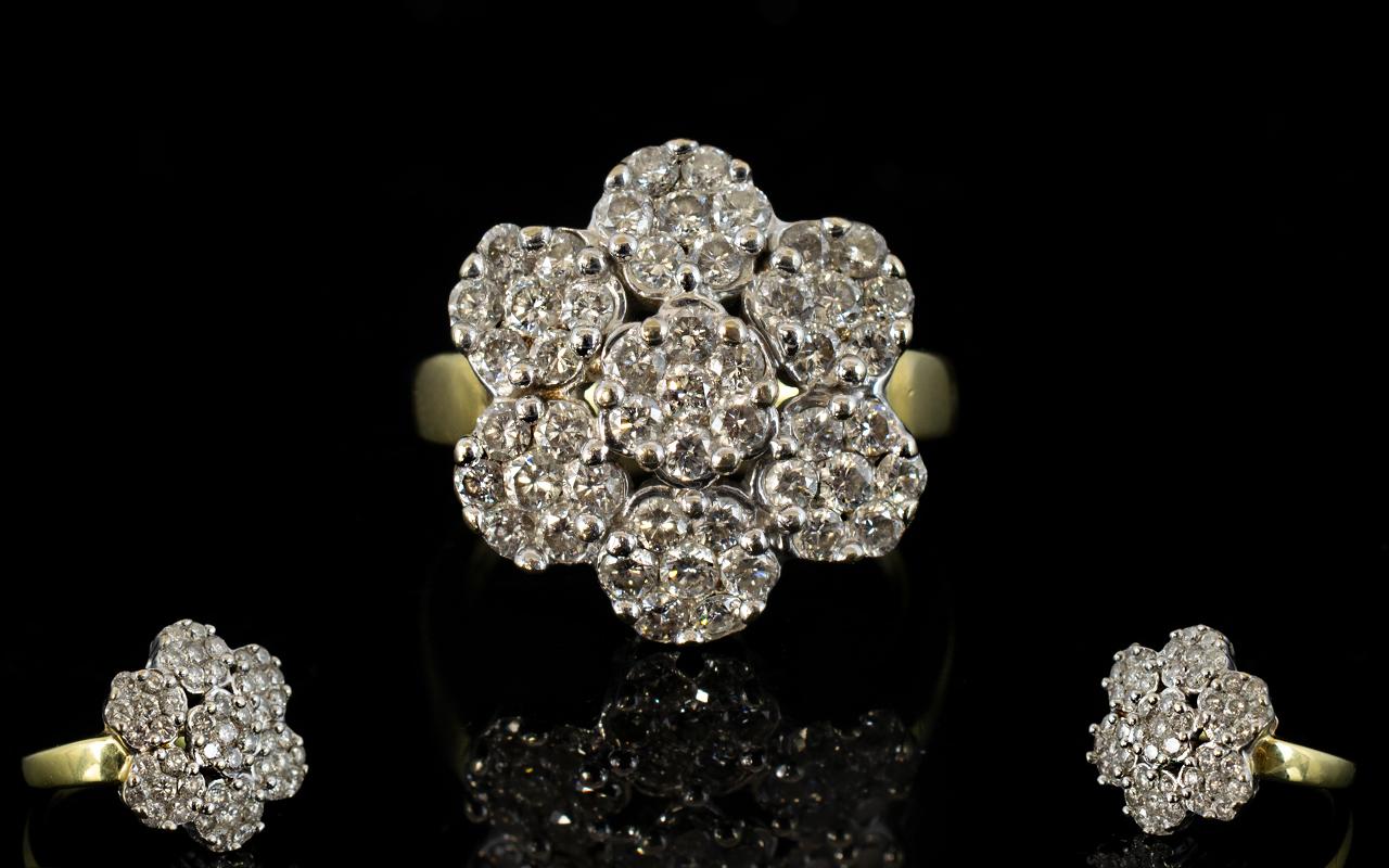 Lot 4 - 18ct Gold - Attractive Diamond Set Cluster Ring, Flower head Design.