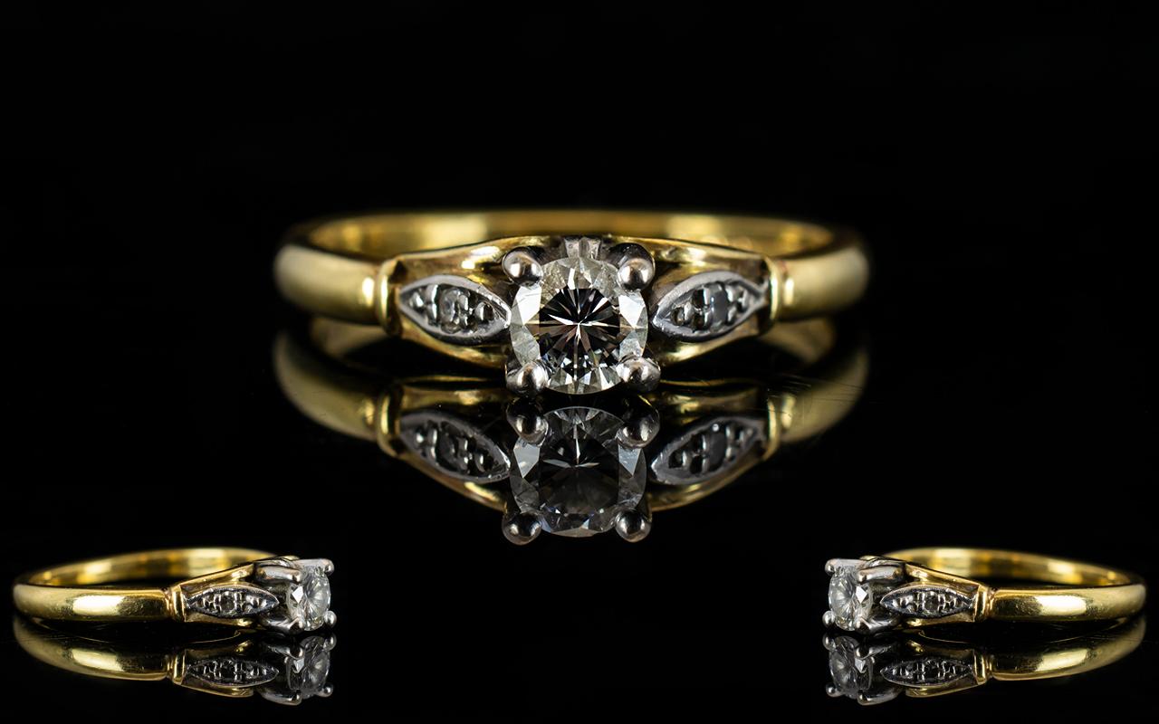 Lot 28A - 18ct Gold Single Stone Diamond Set Ring fully hallmarked the round brilliant cut diamond of good