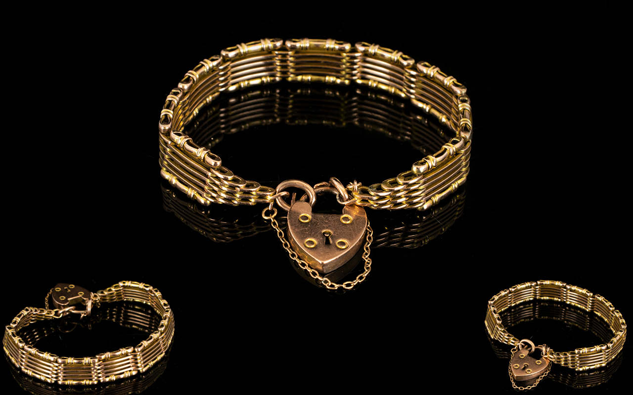 Lot 25 - Superb Quality 9ct Rose Gold Six Bar Gate Bracelet with Attached Safety Chain and Padlock of Solid