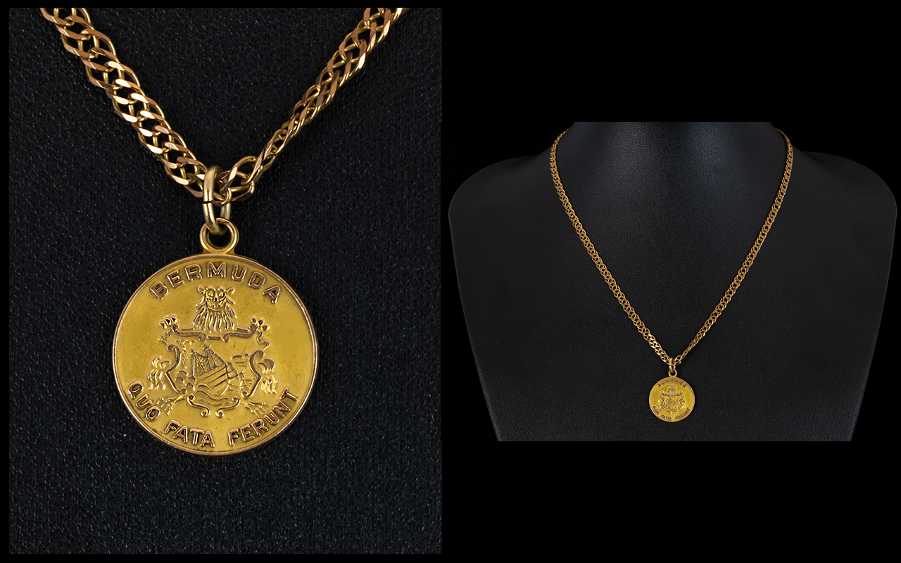 Lot 57 - A Modern 9ct Gold Curb Chain with Attached Bermuda Gold Medal. Fully Hallmarked, Please See Photo.