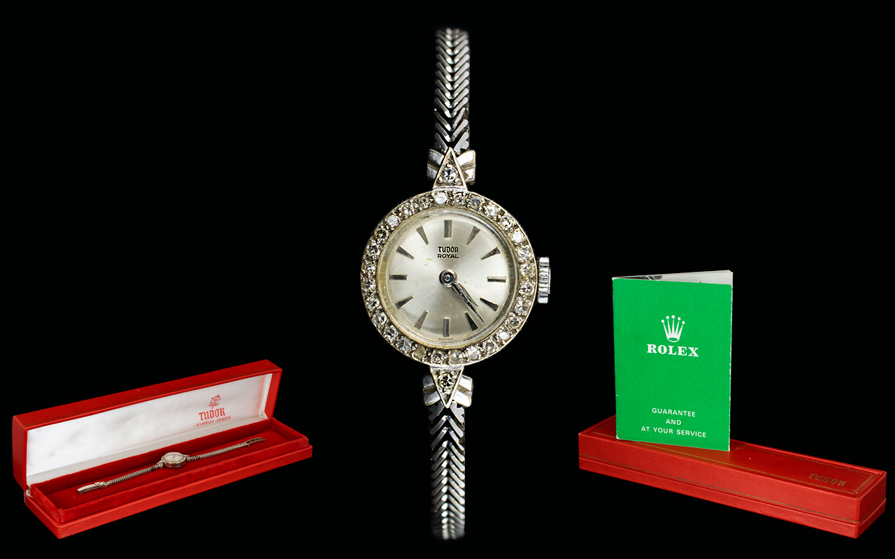 Lot 15 - Rolex Tudor Royal Ladies 9ct White Gold Diamond Set Cocktail Watch with Integral 9ct Gold V Type