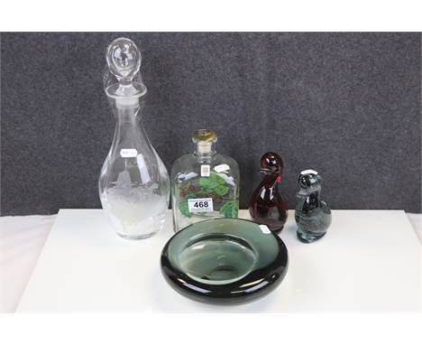 Collection of Five Items of 20th century Glassware including 1959 Per Lutken Holmegaard Bowl 18cms diameter, David Gulland De