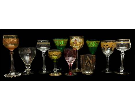 Various continental glass factories - Ten wine glasses, cut and enamelled examples including one with a vignette of musical l