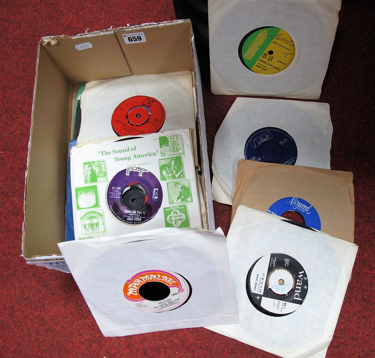 Lot 659 - A Small Collection of 45rpm's, to include labels Wand, Mirwood, Atlantic, Tamla, Trojan,