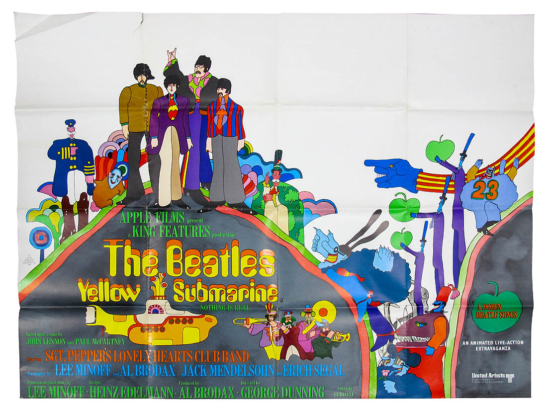 Lot 654 - *WITHDRAWN* The Beatles 'Yellow Submarine' Quad Film Poster, 30 x 40in (folded and 7cm tear to