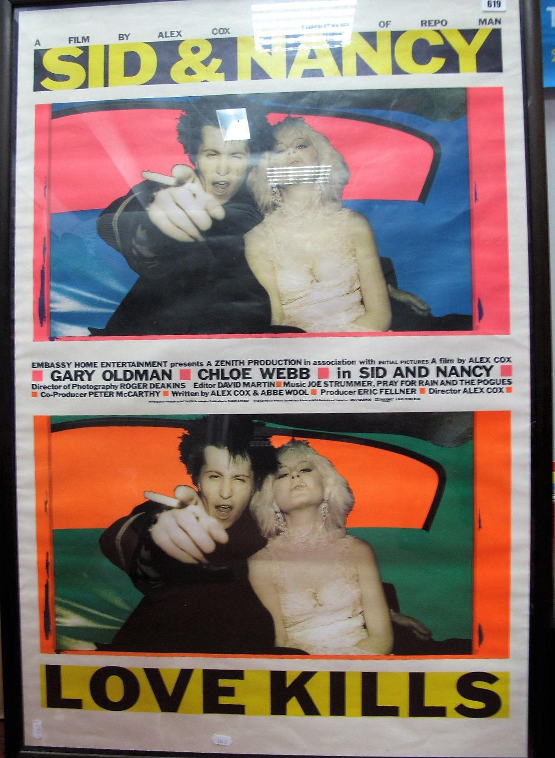 Lot 619 - Film Interest - 'Sid and Nancy - Love Kills', colour poster of the 1986 film release, 101 x 67cm,