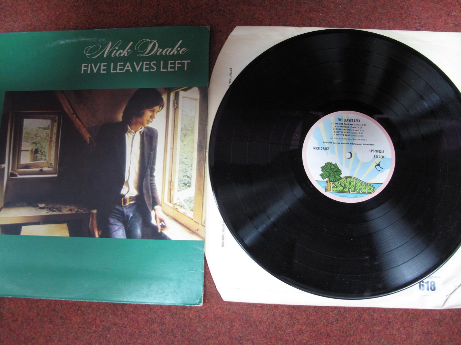 Lot 618 - Nick Drake 'Five Leaves Left' LP, early 70's Island Pink Rim pressing, A-3U/B-3U matrix endings,