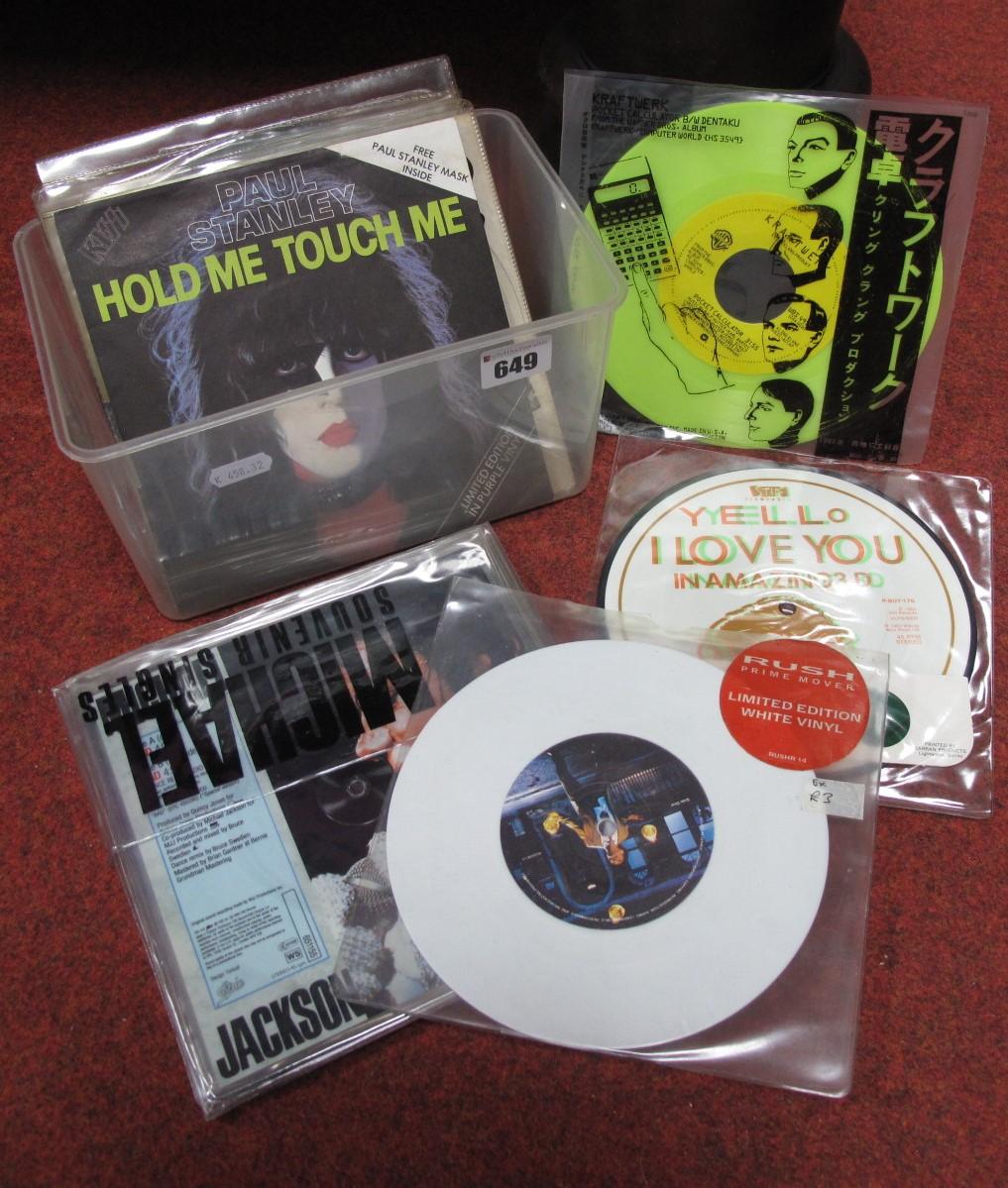 Lot 649 - Picture Disc/Coloured Vinyl - Michael Jackson Souvenir pack, Kraftwerk (yellow vinyl), Yello 'I Love