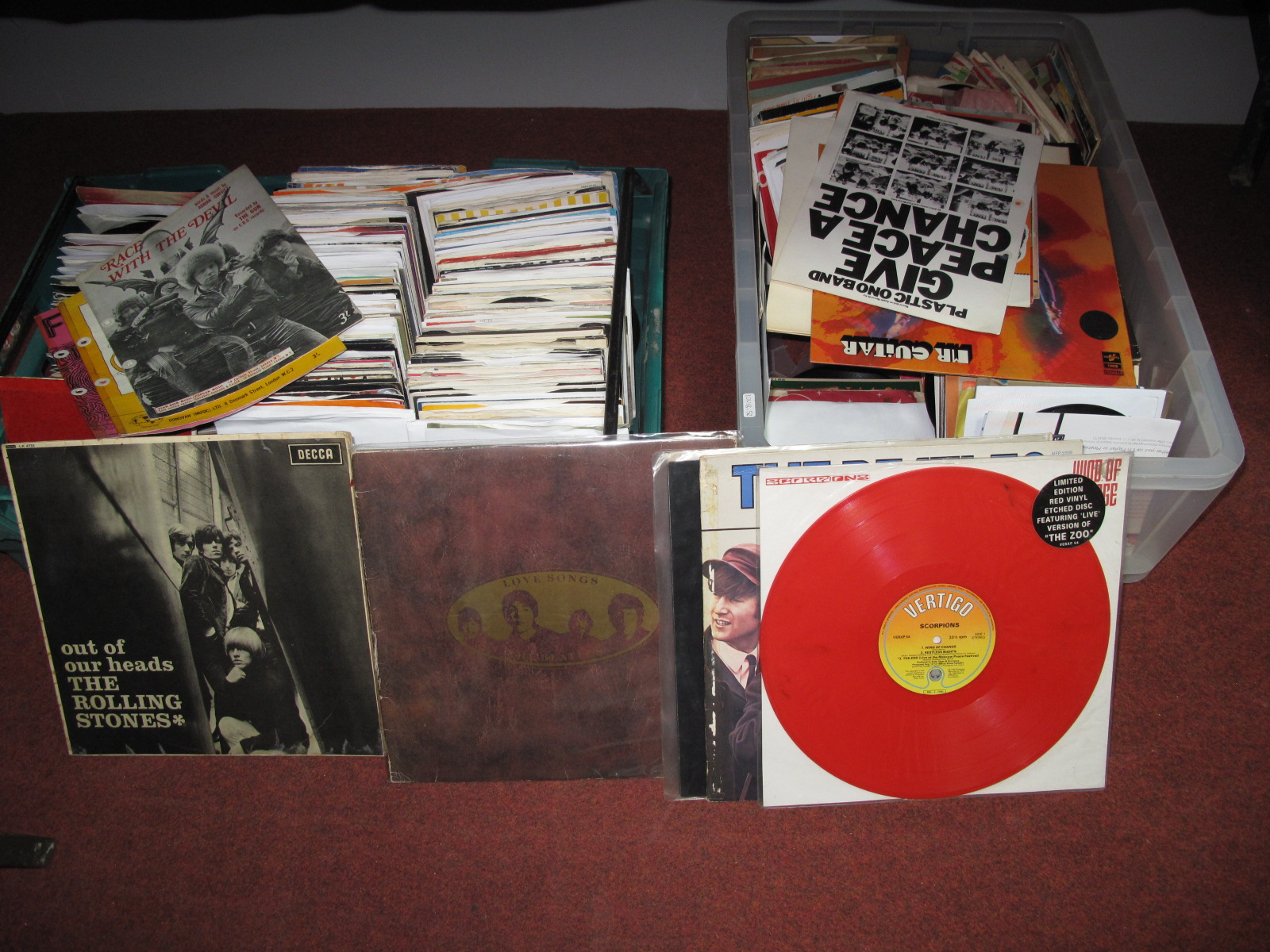 Lot 635 - A Mixed Selection of LP's and Over Three Hundred 45rpm's. Including The Rolling Stones, Beatles,