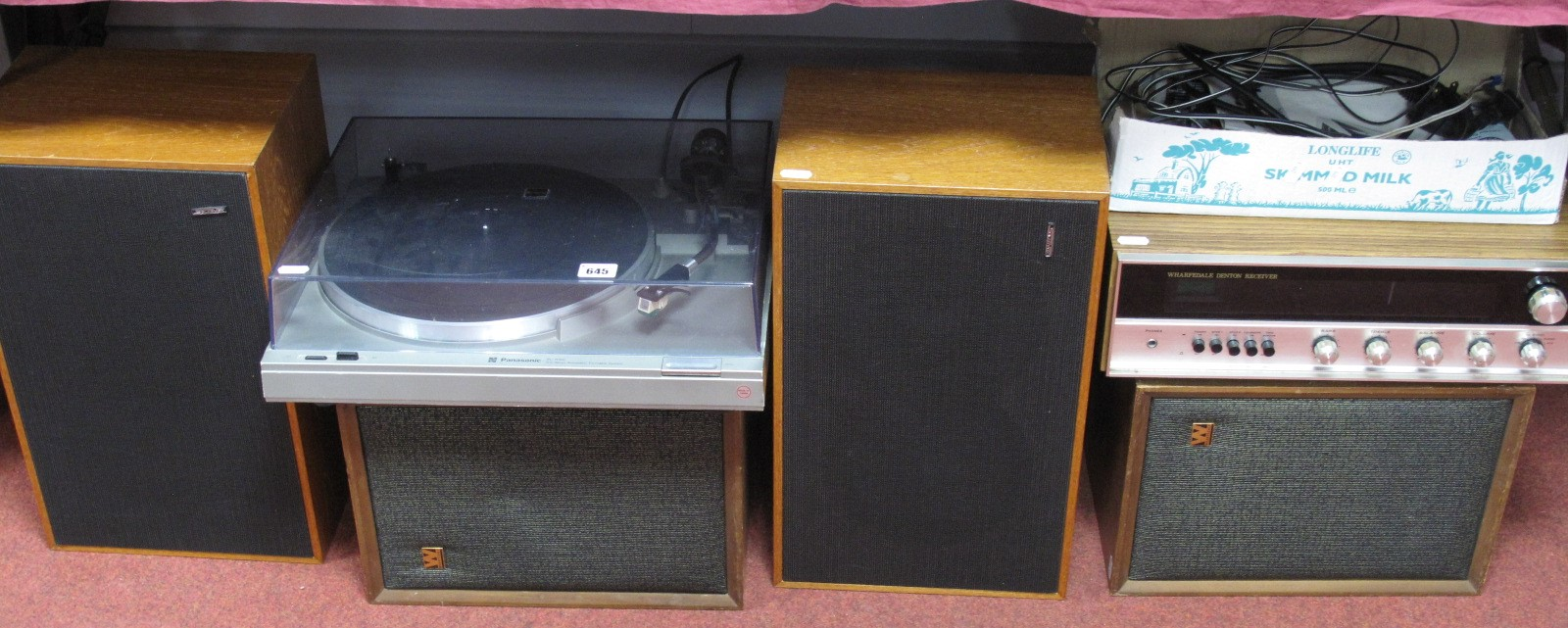Lot 645 - A Wharfedale 'Denton' Receiver, a pair of Wharfedale teak cased Denton W/20D speakers, a Panasonic
