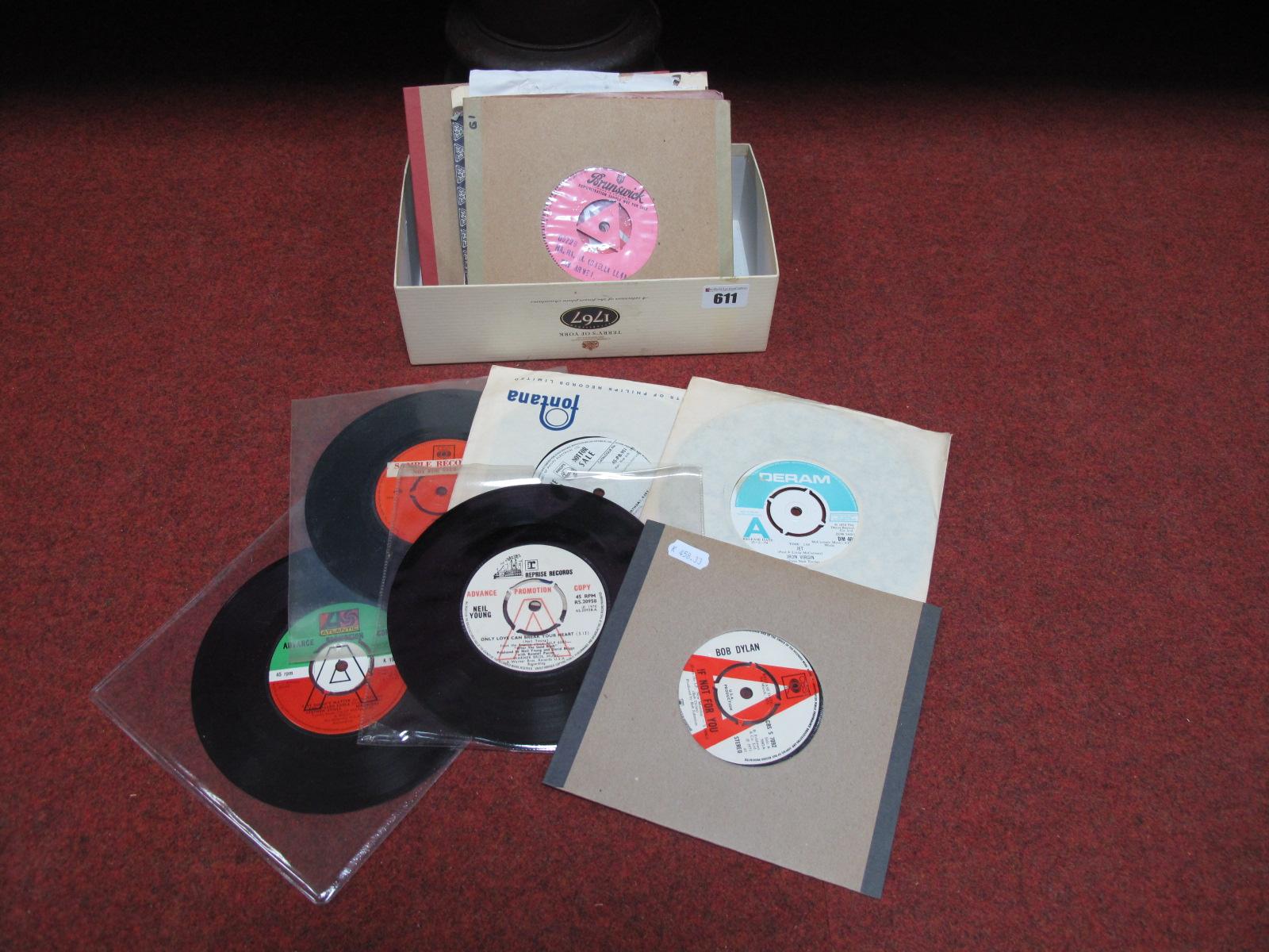 "Lot 611 - Promo's/Demonstration 7"" Vinyl - Bob Dylan, Iron Virgin, Stephen Stills, Neil Young, Steve and"