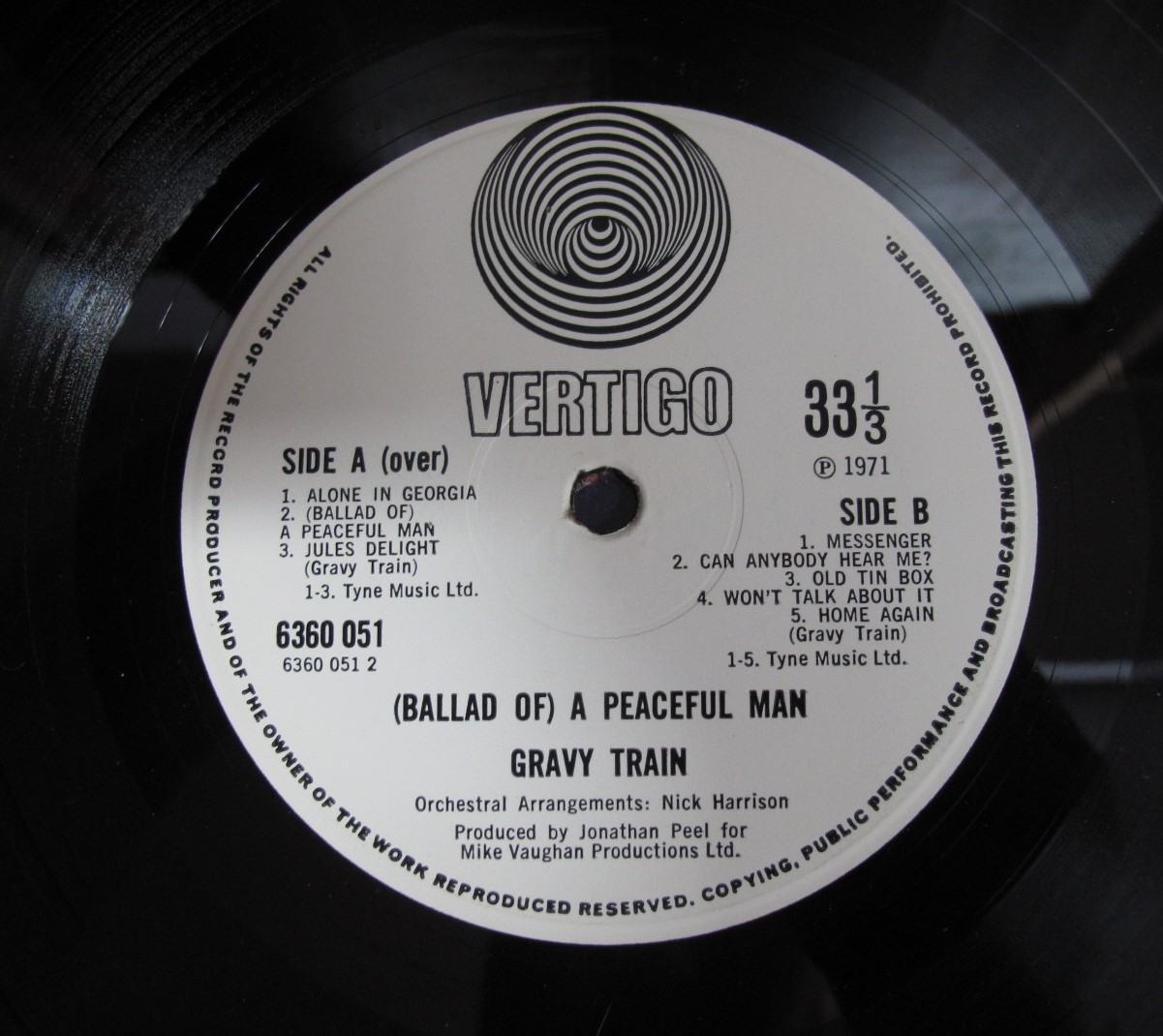 Lot 639 - Gravy Train: Ballad of A Peaceful Man' LP, small Vertigo swirl 6360 051, 1971, 1Y/1 2Y/1 matrix