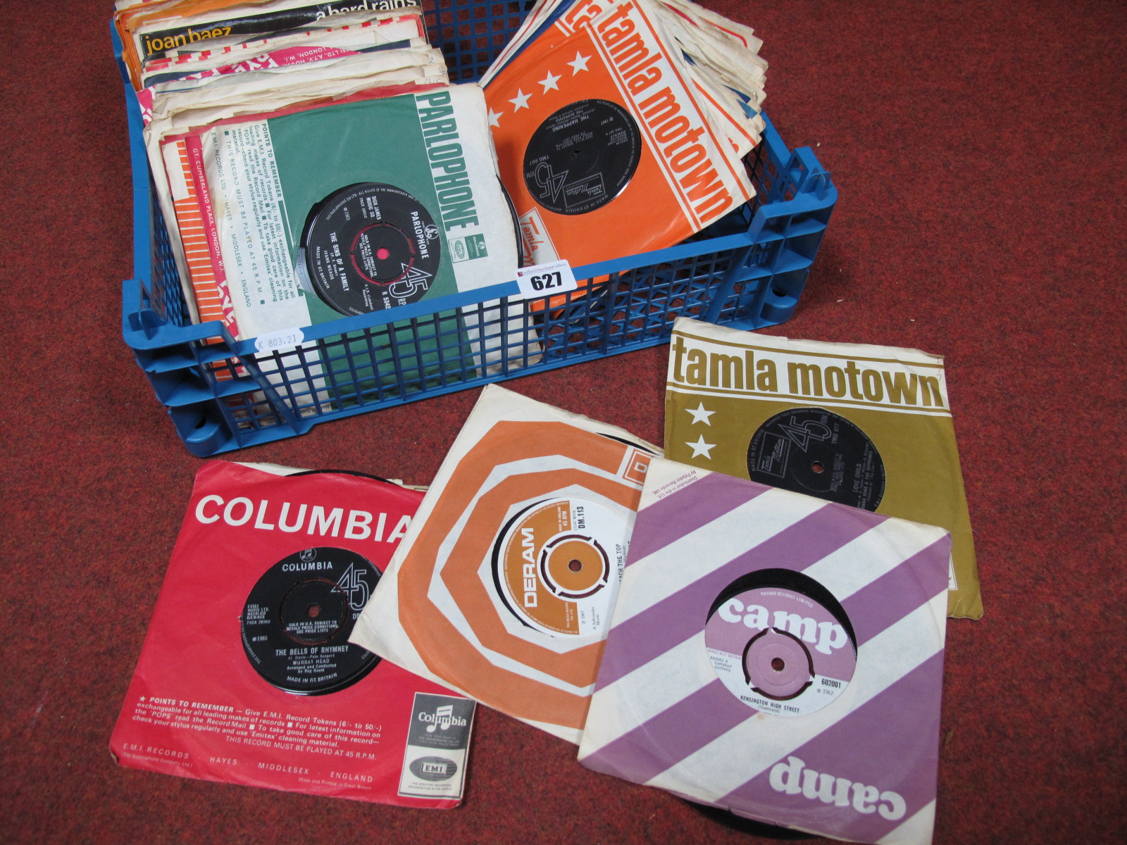 Lot 627 - Psych/Pop/Soul 45rpm's. To include the rare West Coast Delegation 'Reach The Top' (Deram 113),