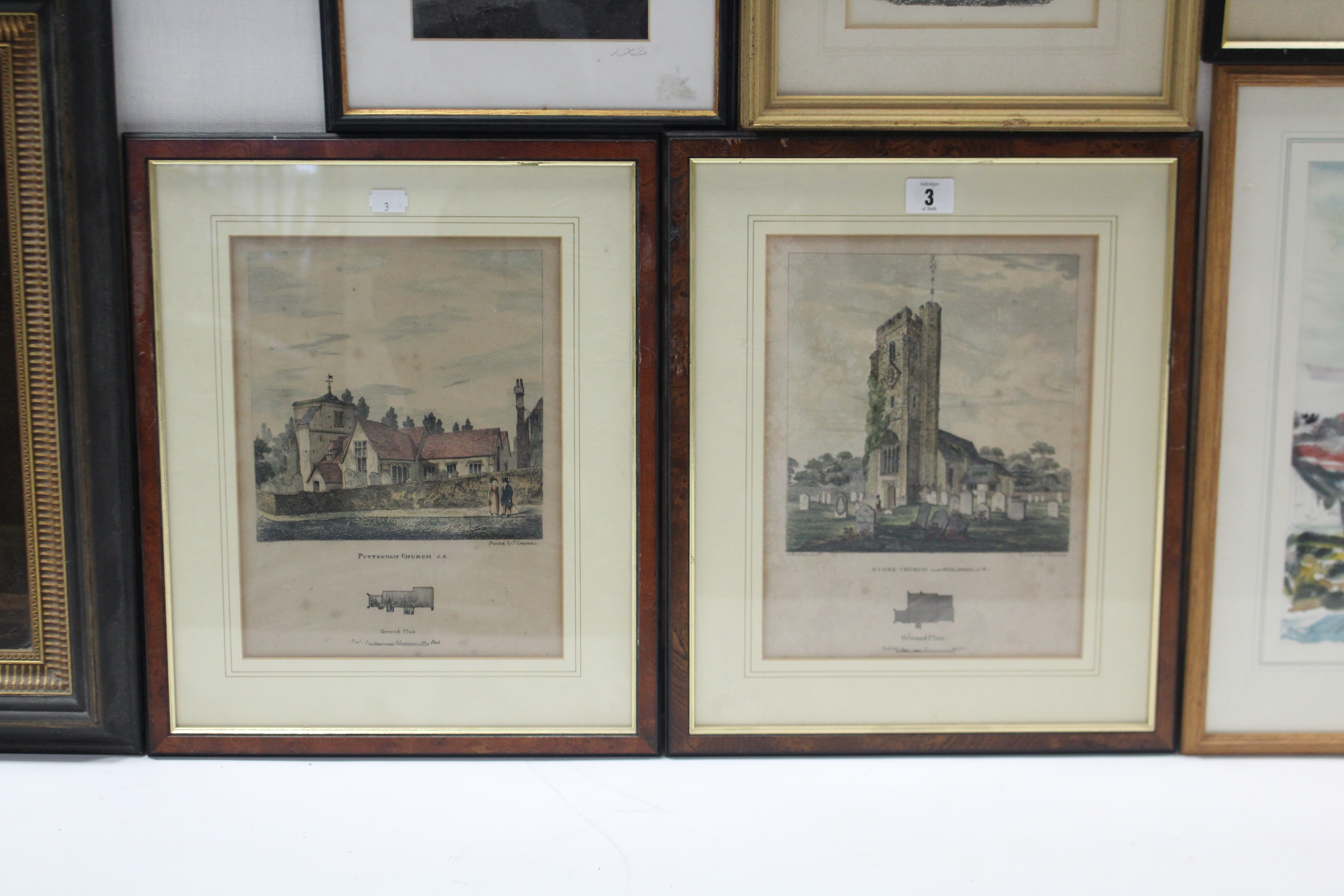 Lot 3 - A pair of lithographs depicting Stoke Church & Puttenham Church, both feature a ground plan &