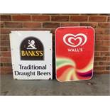 Banks's Traditional draft beers vintage sign and a Wall's ice cream sign