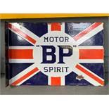 Double sided 'BP' Union Jack flange vintage enamel sign