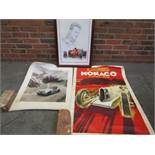 Framed Schumacher print and two further unframed images