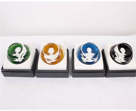 A Set of Four Royal Cameos in Crystal By Baccarat Crystal, France Four royal portrait paperweights of Queen Elizabeth II, The