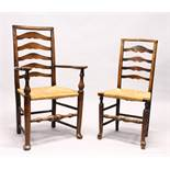 A MATCHED SET OF SIX 19TH CENTURY ASH AND ELM LADDER BACK DINING CHAIRS, two with arms, with rush