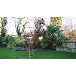 Lot 7 - VERY RARE METAL REARING HORSE STATUE - 11 FEET HIGH !