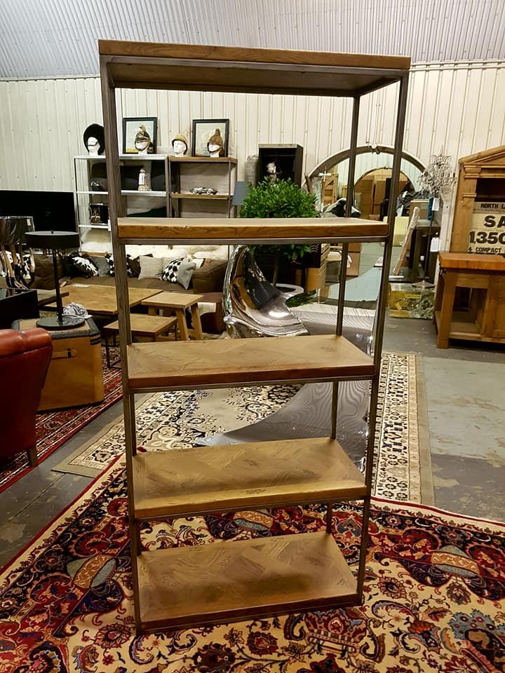 Lot 3282 - Rochelle Single Bookcase Saloon & Iron 90 x 40 x 200cm