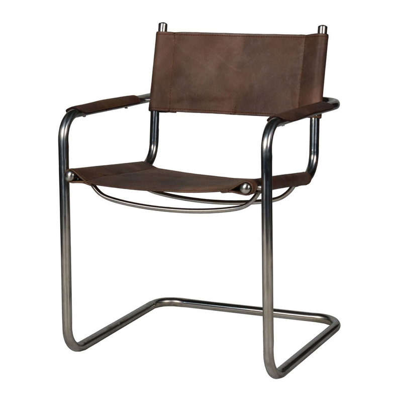 Lot 3224 - Hurlington Dining Chair Destroyed Raw Leather & Shiny Steel 60 x 58 x 82cm The Iconic Club Chair