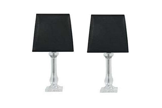 Lot 6132 - A Pair Table Lamps Classic And Timeless Design Clear Acrylic With Matching Angular Black Fabric