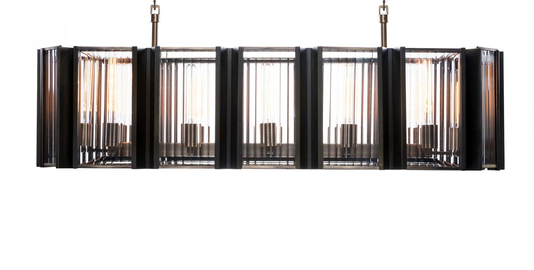 Lot 42 - Elixir Rectangular Pendant 181x43cm F.Brass (UK) The Elixir Range Was Inspired By 1930's Strict