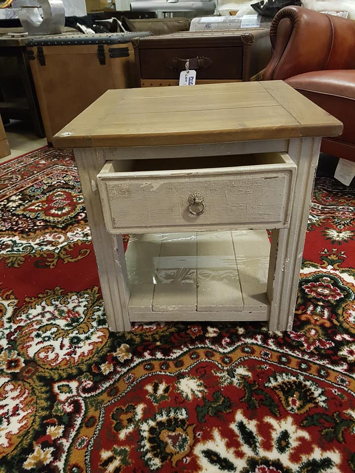Lot 316 - Distressed Painted Side Table With Drawer And Magazine Shelf Parquet Wood Top 50 x 50 x 50cm