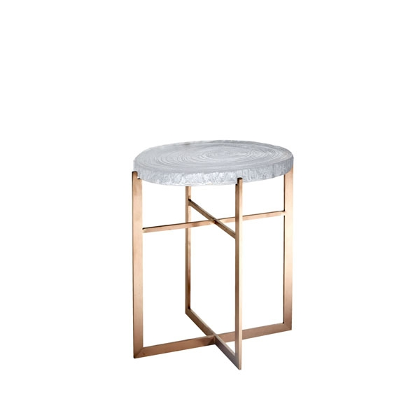 Lot 397 - F319 Tawa Side Table(Tall) 35x30x40cm-Glass & Brushed Copper