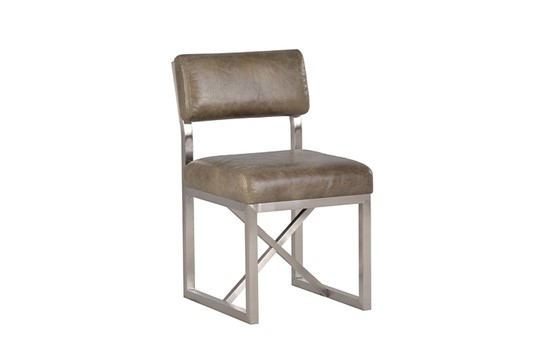 Lot 3222 - Modern Dining Chair Library Green And Brushed Steel 46 x 56 x 80cm
