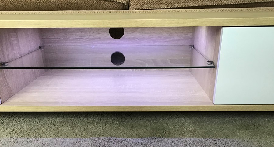 White oak Melamine cabinet with LED lighting, brand new, flat packed and boxed. RRP Circa £120. - Image 2 of 3