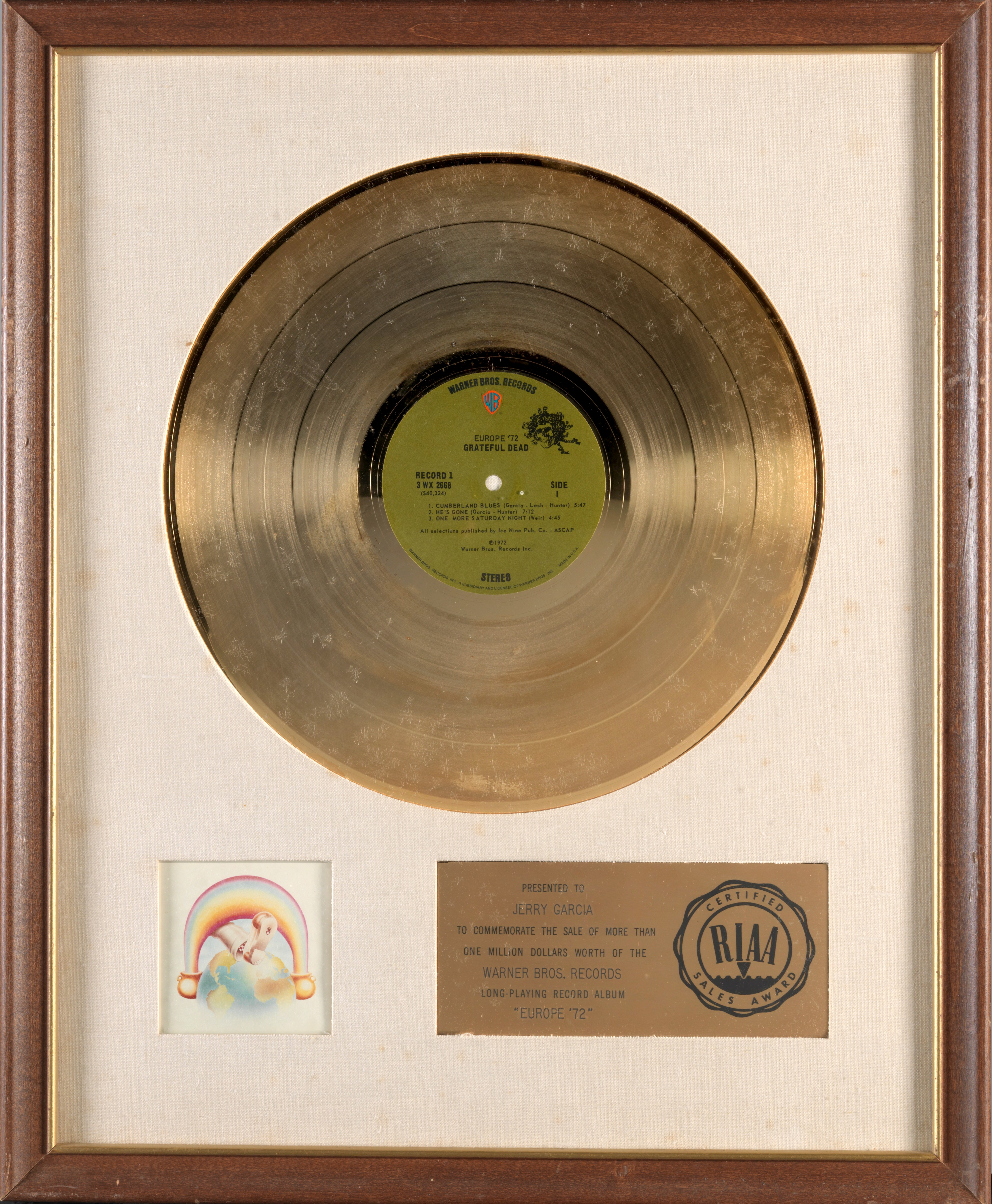 A JERRY GARCIA 'GOLD' SALES AWARD FOR THE GRATEFUL DEAD ALBUM EUROPE '72 1972