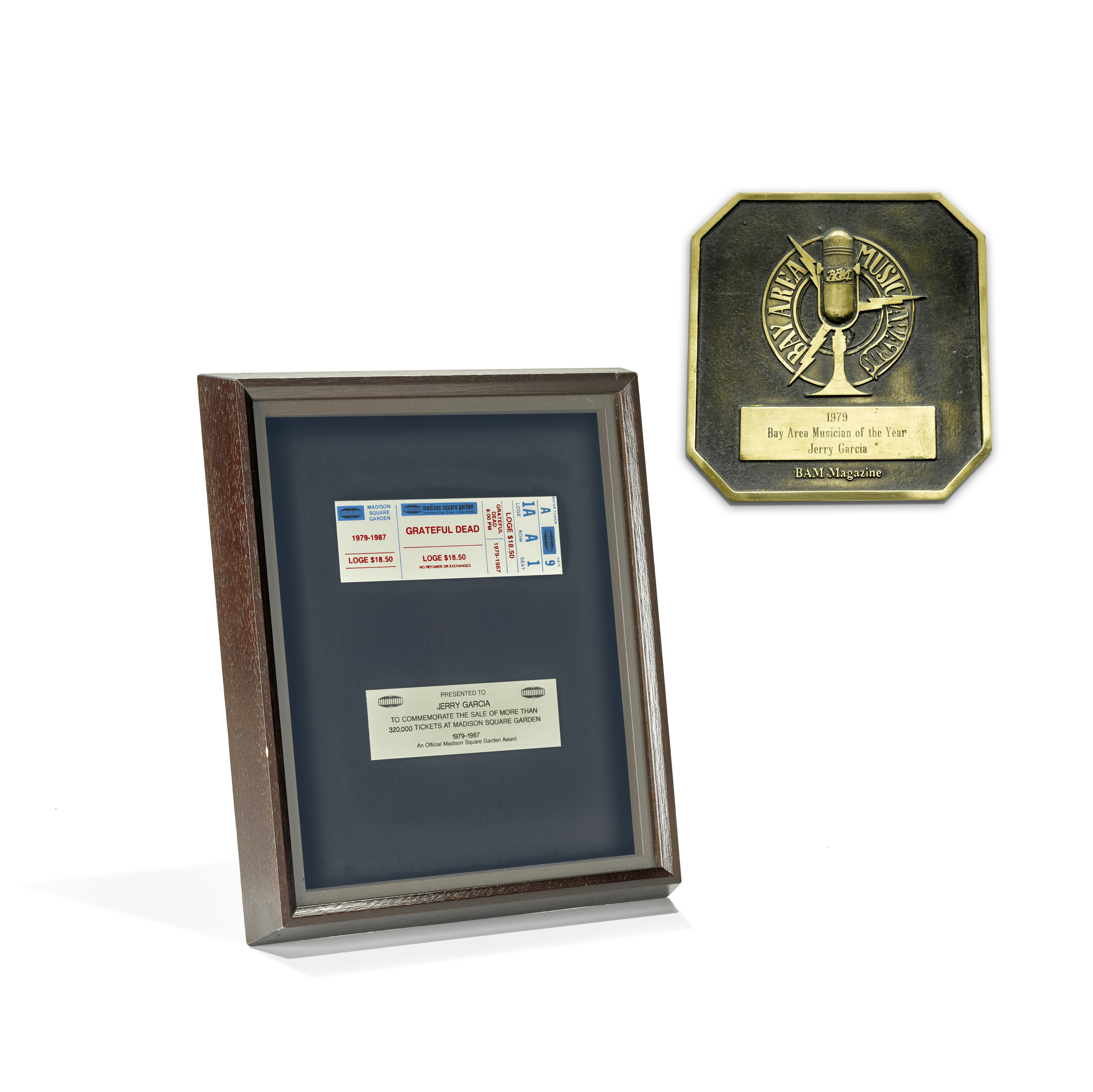 Lot 339 - A BAY AREA MUSIC AWARD FOR MUSICIAN OF THE YEAR PRESENTED TO JERRY GARCIA 1979