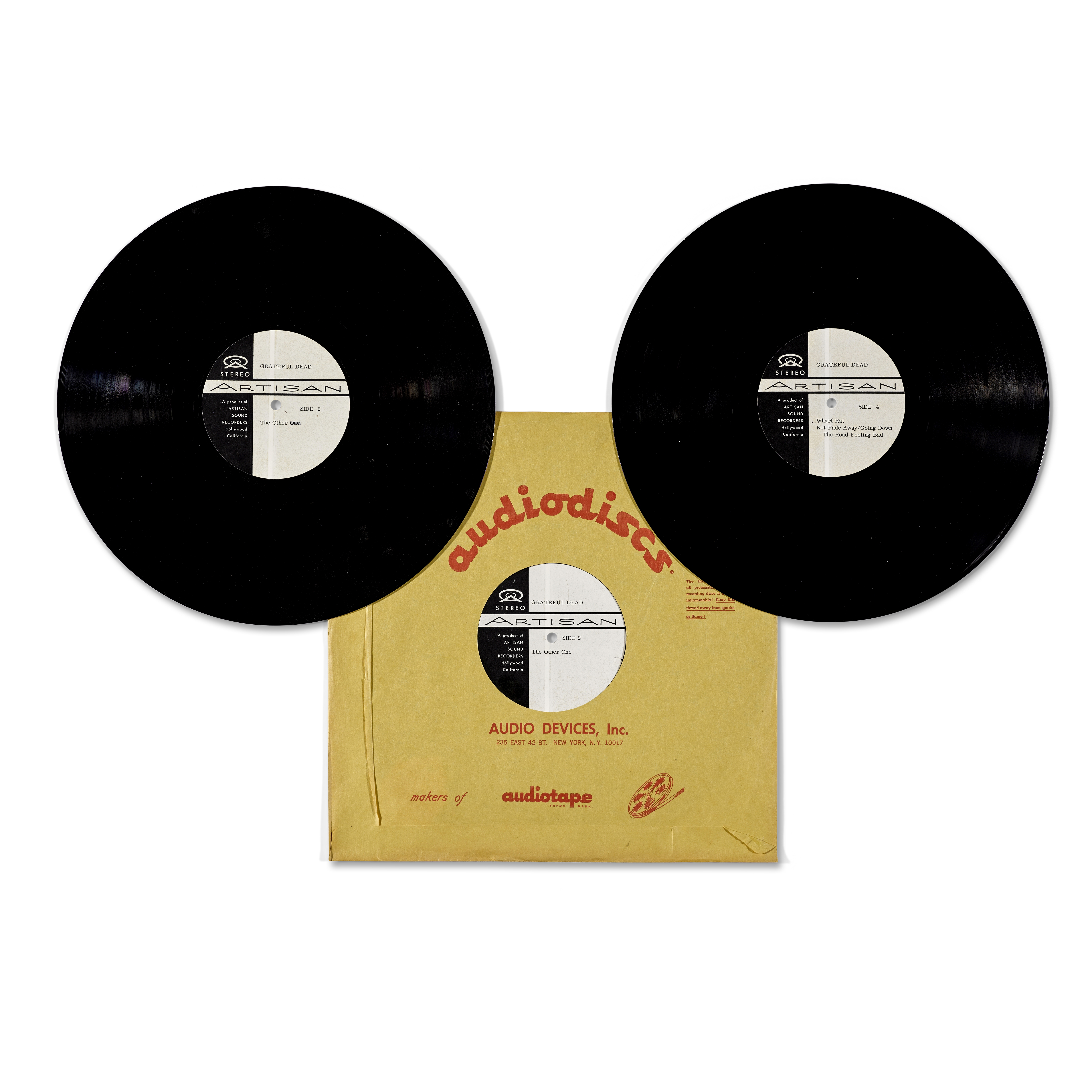 THREE JERRY GARCIA ACETATE RECORDINGS AND TWO TEST PRESSINGS OF THE LIVE DOUBLE ALBUM GRATEFUL DE... - Image 4 of 5