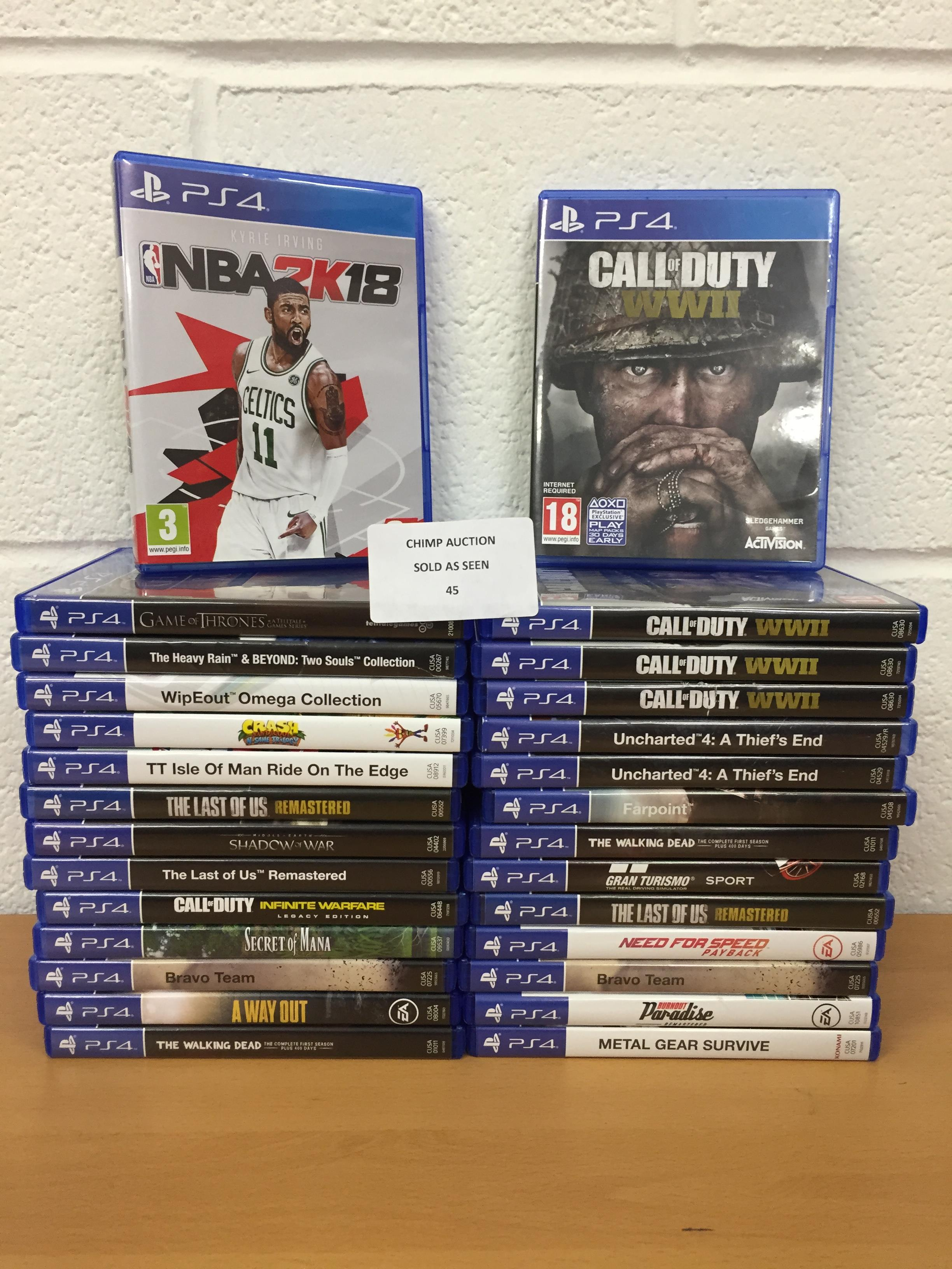 Lot 45 - Joblot of 28x Mixed Sony PS4 games RRP VALUE £1540
