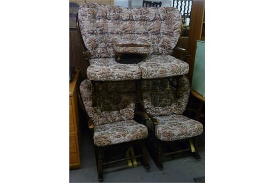 Cottage Style Dark Stained Wood Lounge Suite Of Three Pieces With