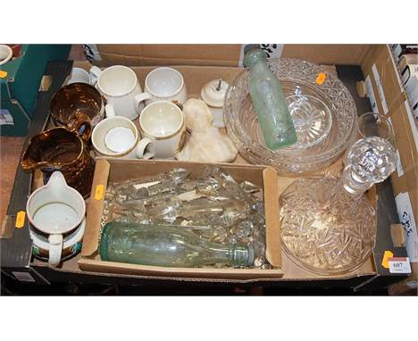 Two boxes of miscellaneous items to include copper lustre jug, commemorative mugs, glass prism lustre drops, cut glass ships