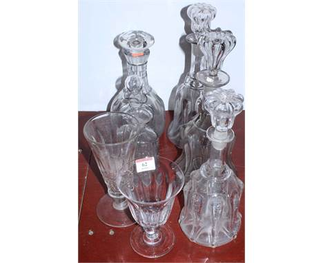 A collection of glassware to include Regency style decanter with mushroom stopper, large glass rummer, etc